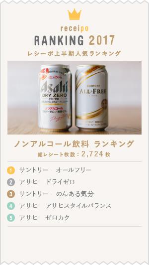 2017上半期レシーポ人気ランキング ノンアルコール飲料部門