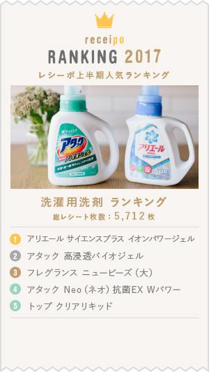 2017上半期レシーポ人気ランキング 洗濯用洗剤部門